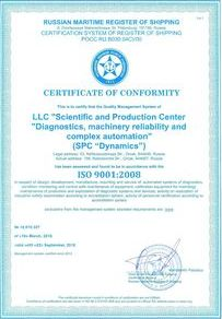 Certificate of SPC Dynamics quality management system conformance with the requirements of ISO 9001:2008